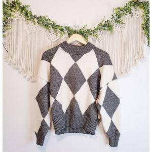 PRINGLE OF SCOTLAND x H&M Diamond Knit Long Sleeve Wool Pullover Sweater sz S